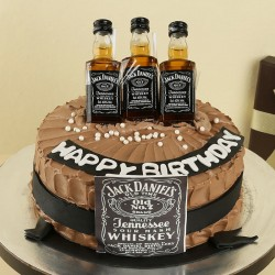 One Kg Birthday Theme Jack Daniel Chocolate Cream Cake