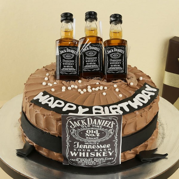 One Kg Birthday Theme Jack Daniel Chocolate Cream Cake