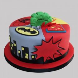 1 Kg Avenger Theme Chocolate Fondant Designer Round Cake