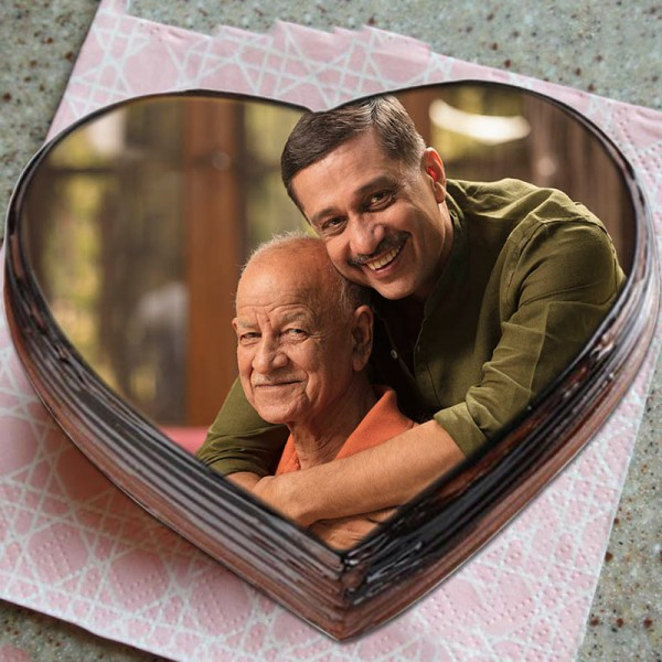 1 Kg Heart Shaped Photo Printed Chocolate Cake for Dad