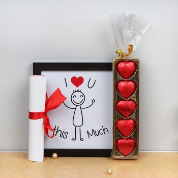 I Love U Photo Frame with a Proposal Letter and 5 pcs Heart Shape Chocolate Pack