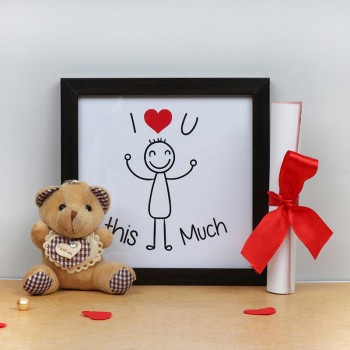 I Love U Printed Frame with Proposal Letter and 3 inches Teddy