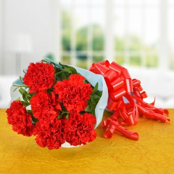 6 Red Carnations with Paper Packing