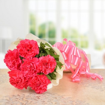 6 Pink Carnations with Paper Packing