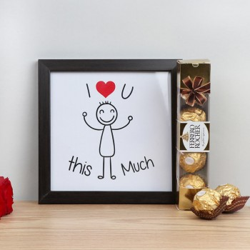 I Love You Printed Photo Frame with 4 pcs Ferrero Rocher Chocolate