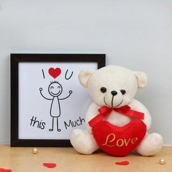I Love You Printed Photo Frame with Teddy Bear