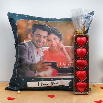 Personalised Photo Printed Cushion with I Love You printed and 5 pcs Homemade Heart Shape Chocolate Pack