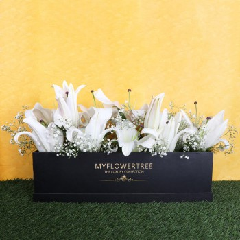 8 Oriental White Lilies in MFT Special Black Box