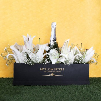 5 Oriental White Lilies in MFT Special Black Box with One Bottle of Red Wine