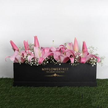 8 Oriental Pink Lilies in MFT Special Black Box