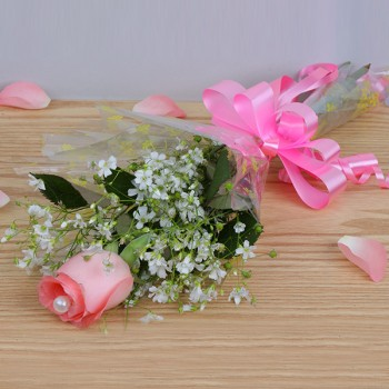 Single Pink Rose Cellophane Packing