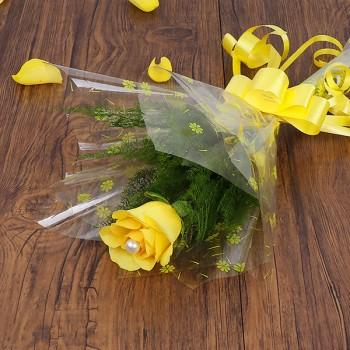Single Yellow Rose Cellophane Packing