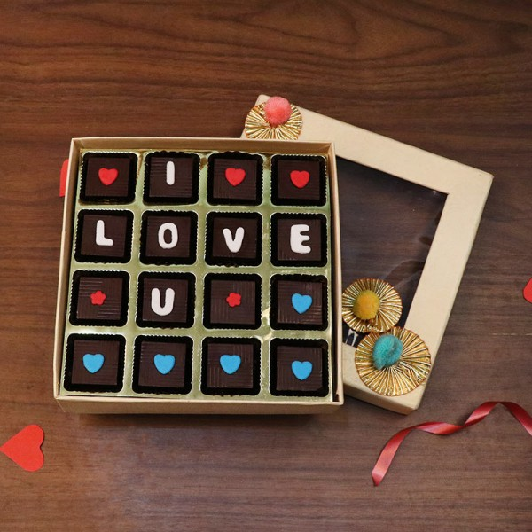 16 Assorted i love you chocolates decorated with heart