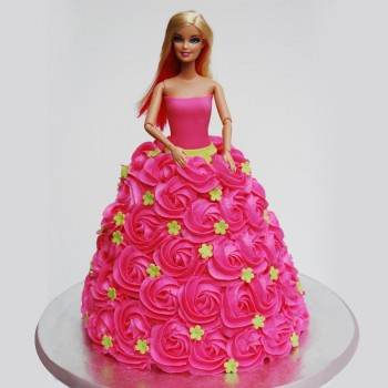2 Kg Cream Vanilla Barbie Cake