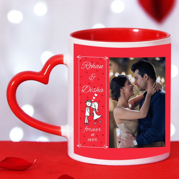 Personalised Red Heart Handle Ceramic Mug