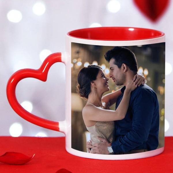 One Personalised Printed Ceramic Red Handle Coffee Mug