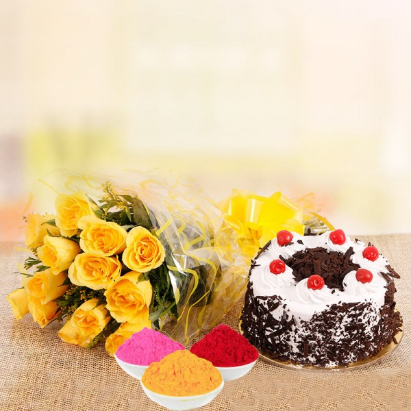 10 Yellow Roses with Half Kg Black Forest Cake and Red Gulal Small Pouch and Pink Gulal Small Pouch and Yellow Gulal Small Pouch