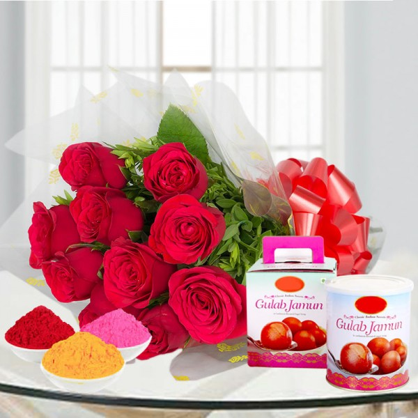 10 Red Roses in Cellophane Packing with 1 Kg Gulab Jamun and Red Gulal Pouch and Pink Gulal Pouch and Yellow Gulal Pouch