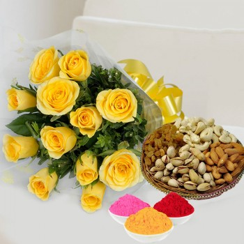 12 Yellow Roses in Cellophane Packing with Yellow Bow and Assorted Dry Fruits (250gms) with Red Gulal Small Pouch and Pink Gulal Small Pouch and Yellow Gulal Small Pouch