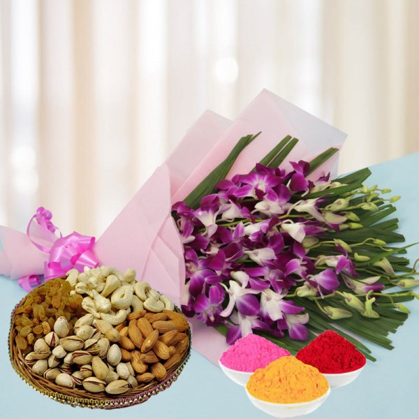 6 Purple Orchids in Pink Paper Packing with matching bow with Assorted Dry Fruits (250gms) and Red Gulal Small Pouch and Pink Gulal Small Pouch and Yellow Gulal Small Pouch