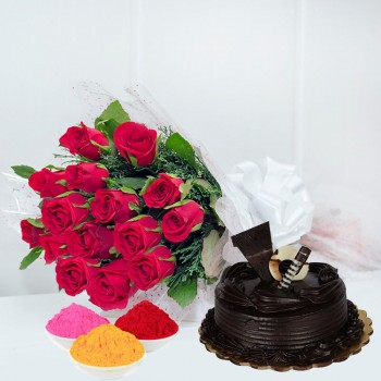 12 Red Roses in Cellophane Packing with Red Bow with Half Kg Truffle Cake and Red Gulal Small Pouch and Pink Gulal Small Pouch and Yellow Gulal Small Pouch for Holi