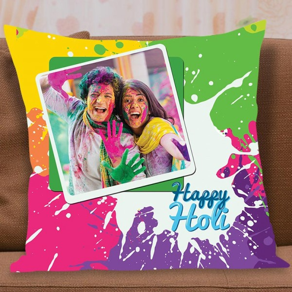One Personalised Photo Printed Cushion for Holi