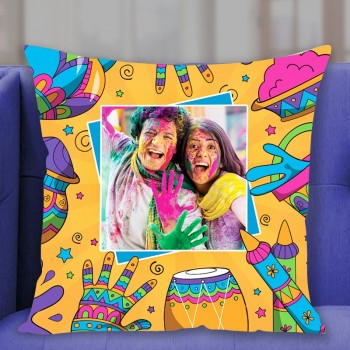 One Personalised Photo Printed Holi Cushion