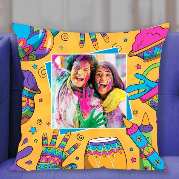 One Personalised Photo Printed Holi Cushion