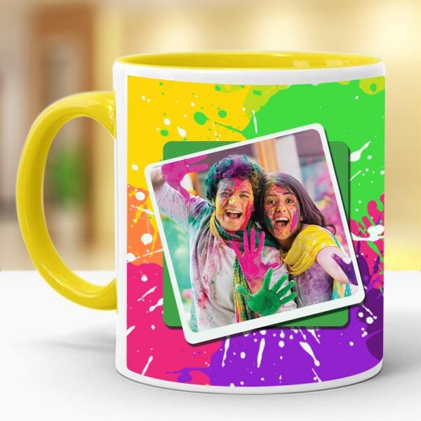 One Personalised Photo Printed Ceramic Yellow Handle Coffee Mug for Holi