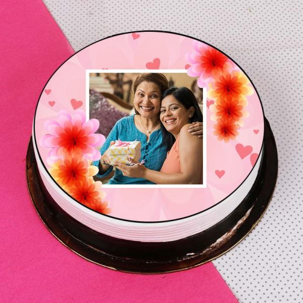 One Kg Round Shape Strawberry Personalised Cake