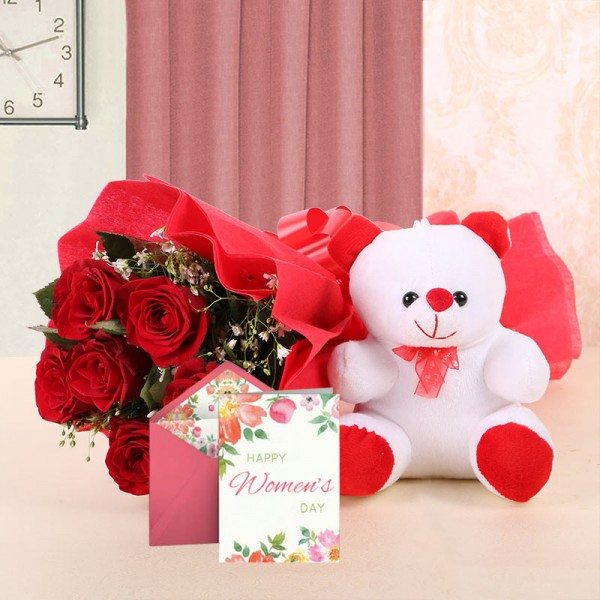 6 Red Roses with 1 Teddy Bear (6inches) and 1 Women's Day Greeting Card