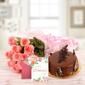 10 Pink Roses with Half Kg Chocolate Truffle Cake and 1 Women's Day Greeting Card