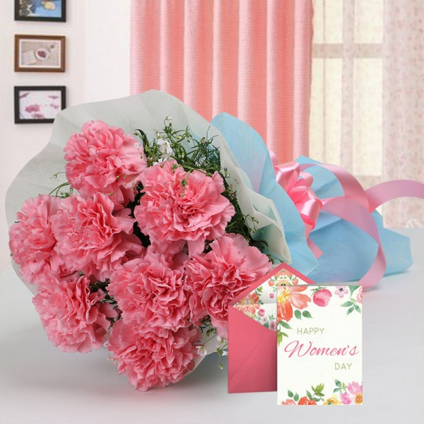 8 Pink Carnations and 1 Women's Day Greeting Card