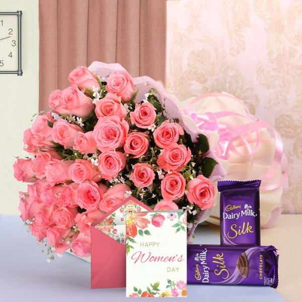 40 Pink Roses in White and Pink Paper with 2 Cadbury's Silk (60gms each) and 1 Greeting Card for Womens Day