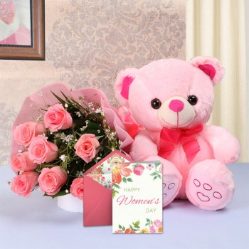 8 Pink Roses in Pink paper packing with 1 Pink Teddy Bear (10 inches) and 1 Women's Day Greeting Card