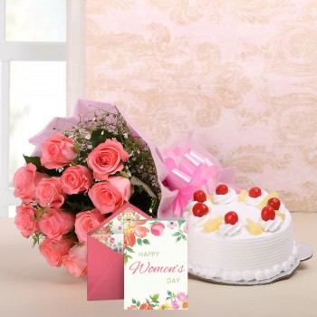 10 Pink Roses in Pink Paper with Half Kg Pineapple Cake and 1 Greeting Card for Womens Day