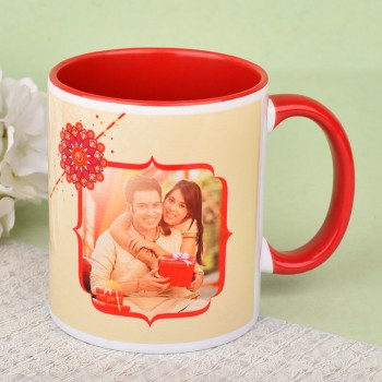 Red Handle Personalised Mug for Rakhi