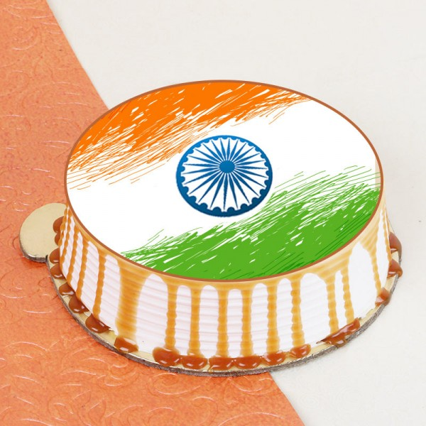 1 Kg Photo Printed Butterscotch Cake for Independence Day