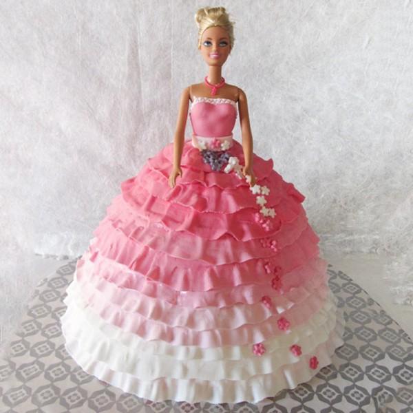 2 Kg Vanilla Barbie Theme Fondant Cake
