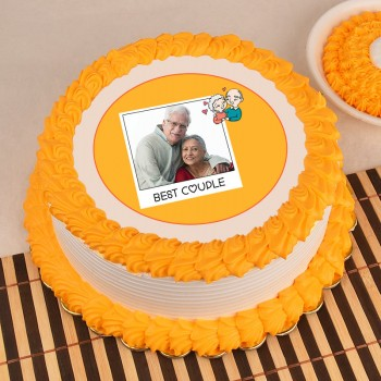 1 Kg Round Shape Photo Pineapple Cake for Parents