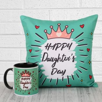 Happy Daughters Day Coffee Mug and Cushion
