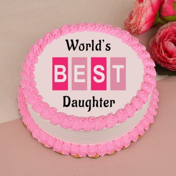 1 Kg Photo Printed Pineapple Cake for Daughter
