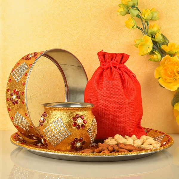Karwa Chauth Pooja Thali Set with Dryfruit