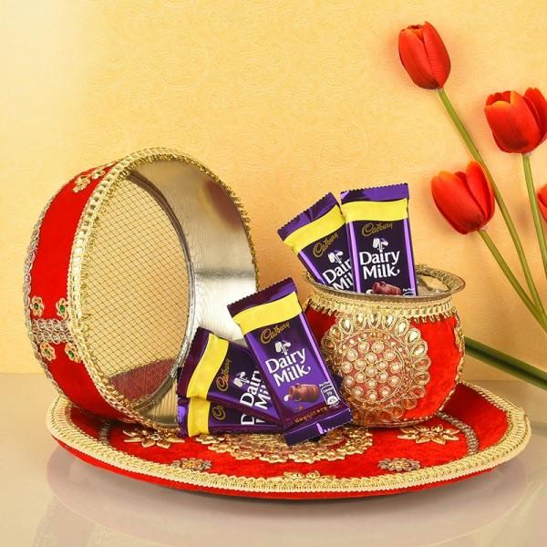 Red Karwa Chauth Pooja Thali with Dairy Milk Chocolate