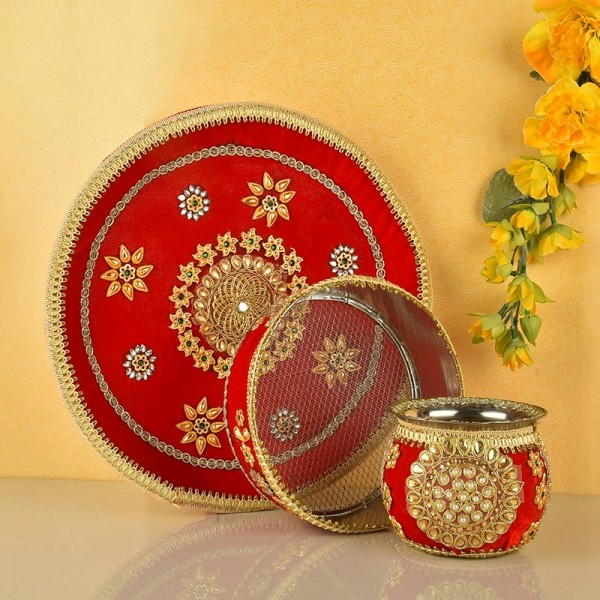 Red Karwa Chauth Thali Set