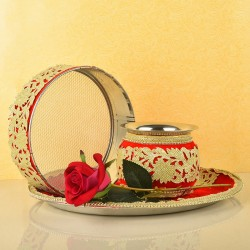 Red n Golden Karwa Chauth Thali Combo