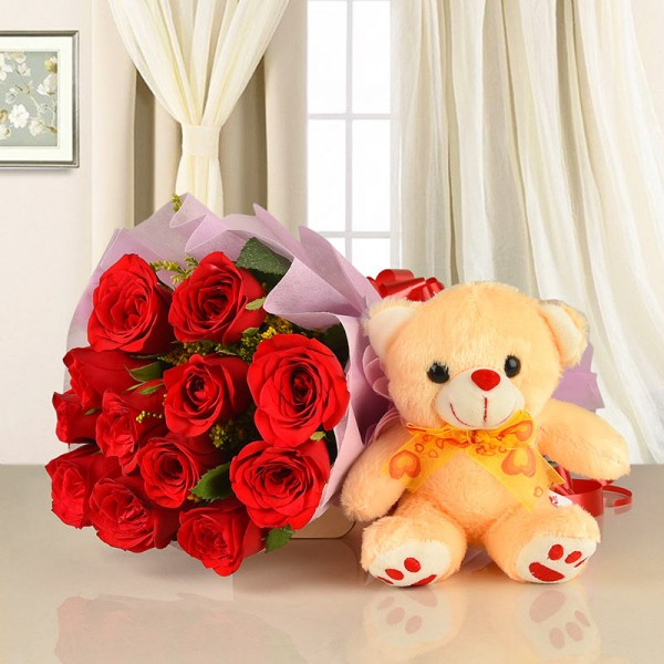 12 Red Roses with Teddy Bear (6 Inches)