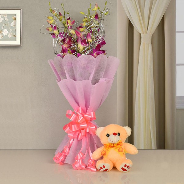 6 Purple Orchids with Teddy Bear (6 inches) and Paper Packing