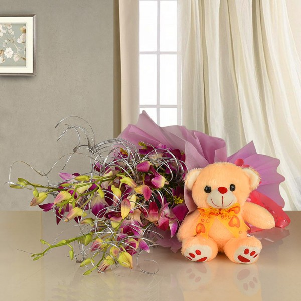 Flowers with Teddy Bouquet