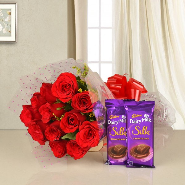 12 Red Roses with 2 Cadbury's DairyMilk Silk (60gms each)